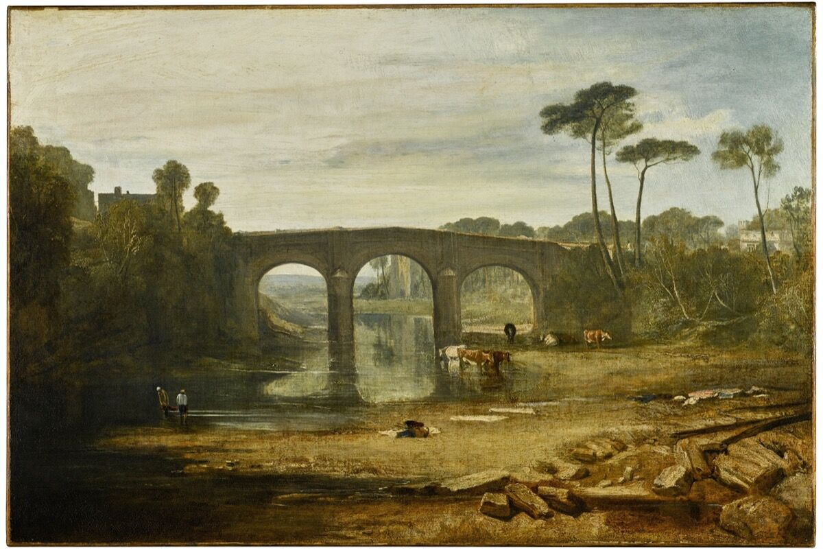 Joseph Mallord William Turner, Whalley Bridge and Abbey, Lancashire Dyers Washing and Drying Cloth, n.d. Courtesy of Sotheby's.