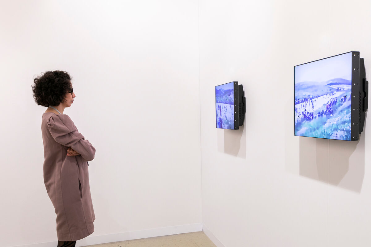 Installation view of Lawrence Abu Hamdan, The whole time there were no land mines, 2017, at Mor Charpentier's booth at Art Basel in Basel, 2018. Courtesy of Art Basel.