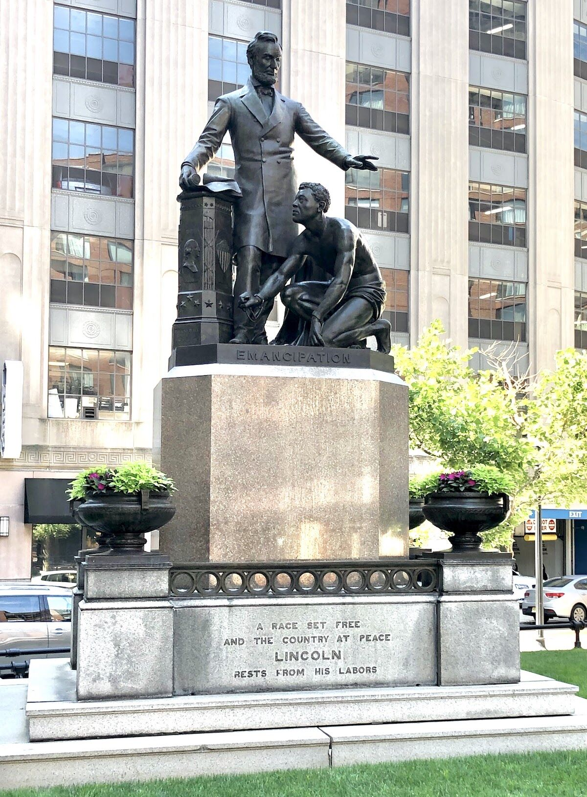The Emancipation Group, a copy of a statue in Washington D.C. created by Thomas Ball. Photo courtesy of the Boston Art Commission.