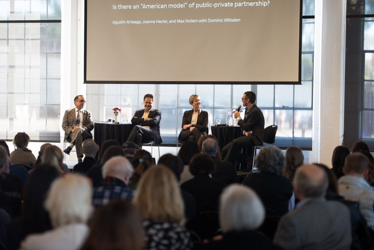 "Agustin Arteaga, Max Hollein, Joanne Heyler, and Dominic Willsdon at ""Yours, Mine, and Ours."" Photo by Beth LaBerge, courtesy of SFMOMA."