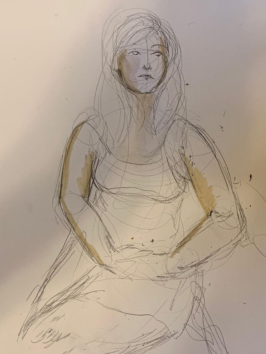 Work in progress by Angelica Frey from a virtual figure-drawing class held on Zoom. Courtesy of Angelica Frey.