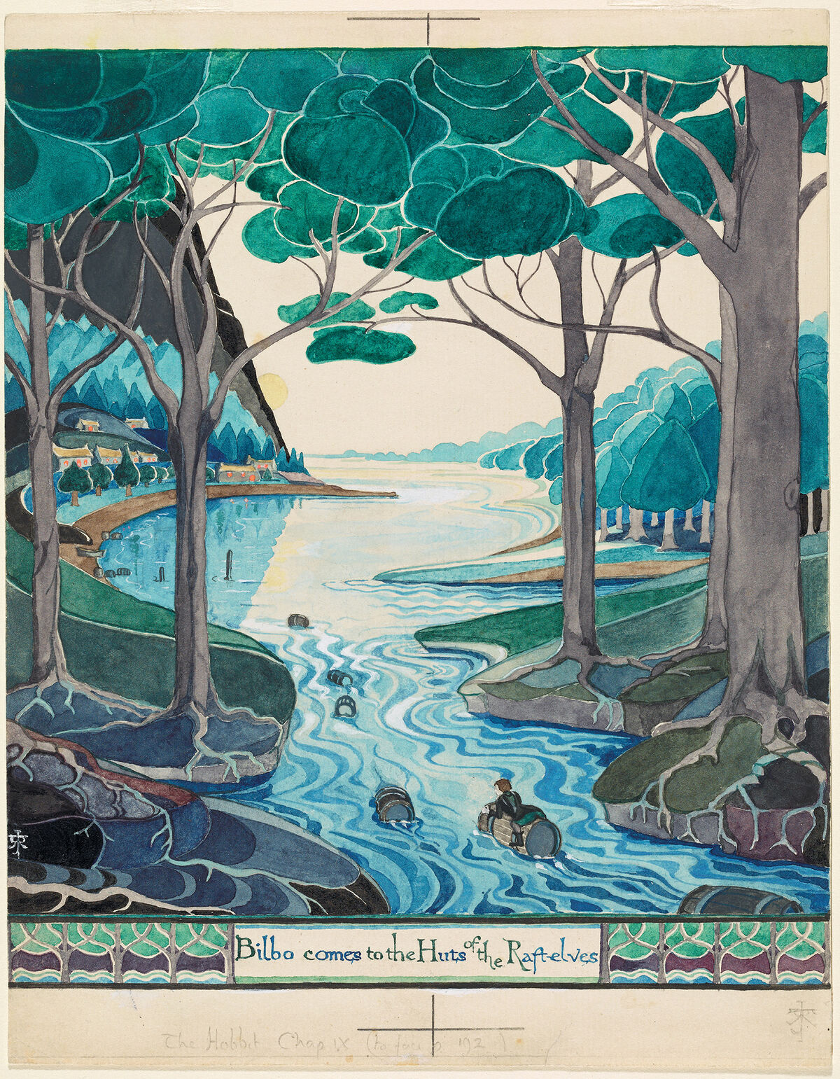 J. R. R. Tolkien, Bilbo comes to the Huts of the Raft-elves, 1937. © The Tolkien Estate Limited 1937.