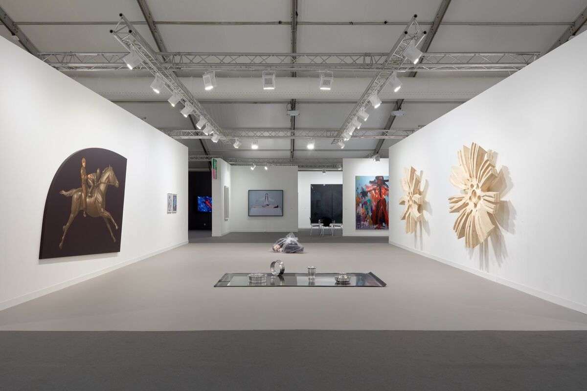 Installation view of Modern Art's booth at Frieze London, 2018. Photo by Robert Glowacki. Courtesy of Stuart Shave/Modern Art, London.