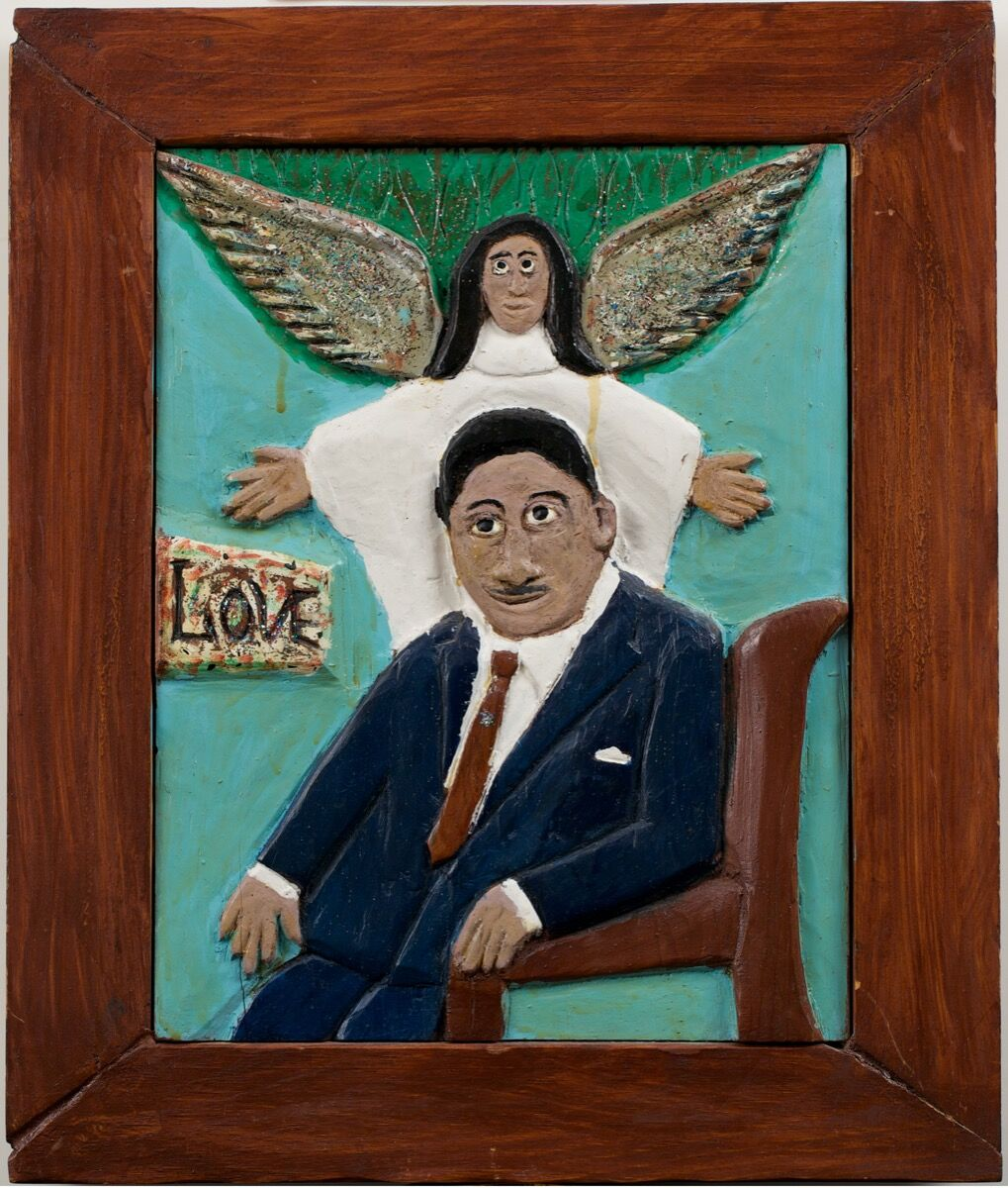 Elijah Pierce, Love (Martin Luther King, Jr.), Unknown. Paint, glitter, varnish on wood. The Collection of Jill and Sheldon Bonovitz. Promised gift to the Philadelphia Museum of Art. Courtesy of the Barnes Foundation.