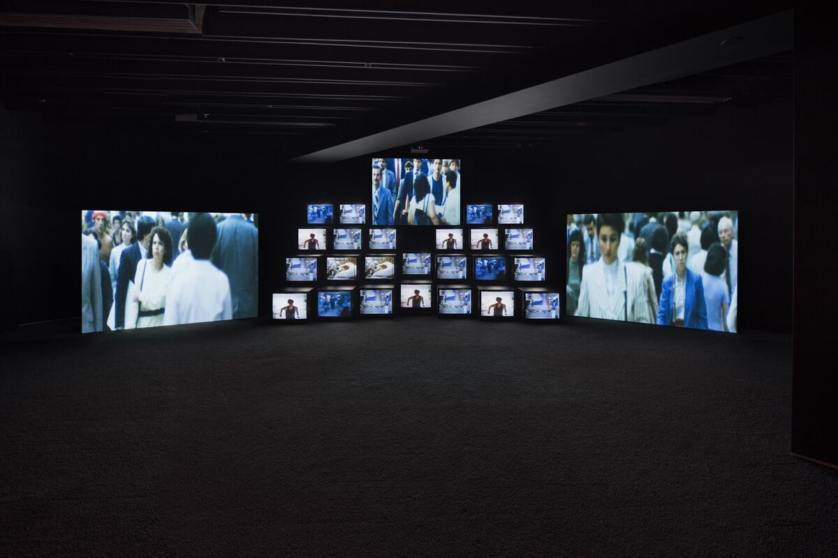 """Installation view of Gretchen Bender, Total Recall,  1987, in """"Gretchen Bender: So Much Deathless,"""" Red Bull Arts New York, 2019. Photo by Lance Brewer. © The Gretchen Bender Estate. Courtesy of Red Bull Arts and and OSMOS."""