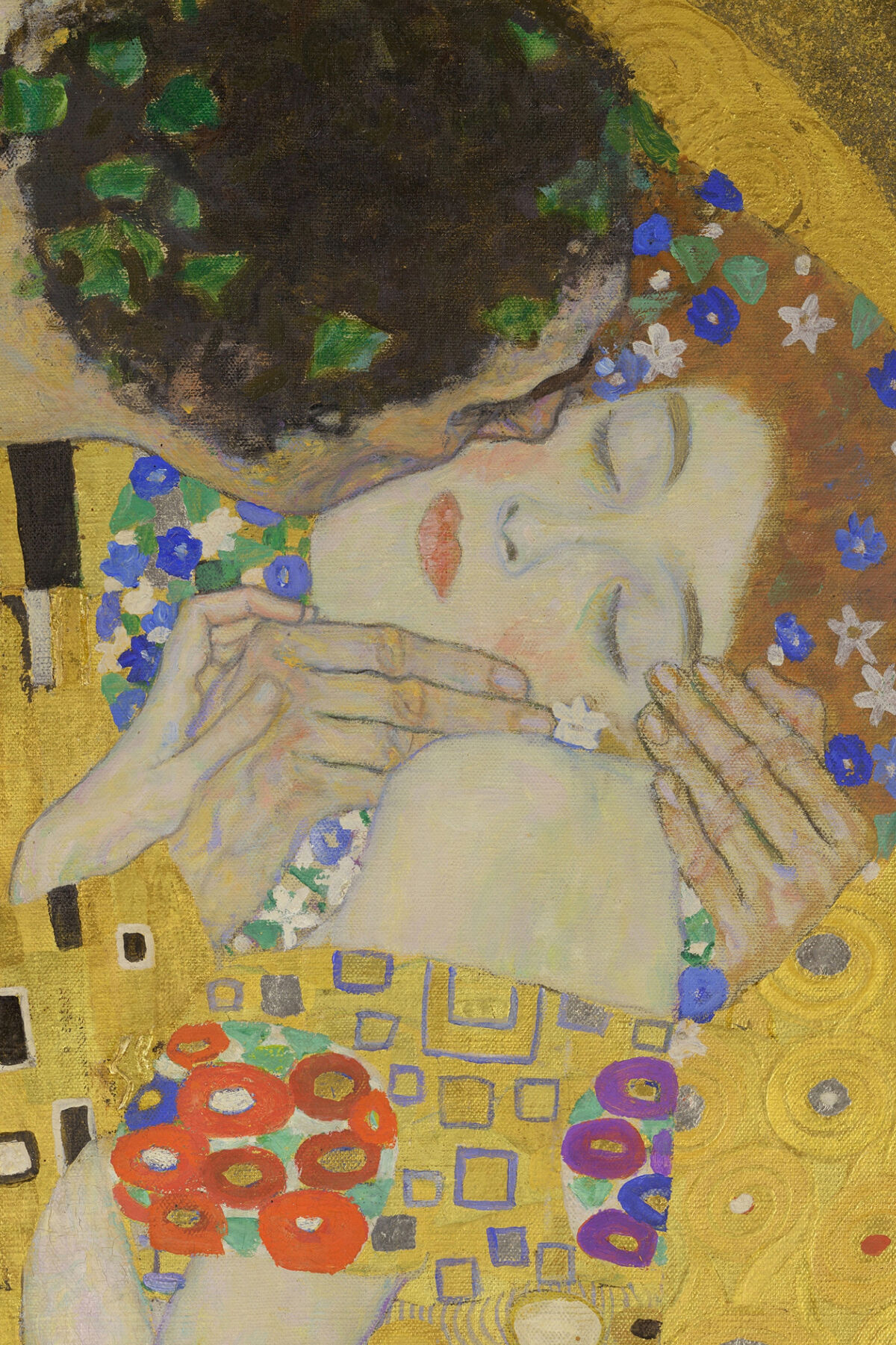 Gustav Klimt, The Kiss (details), 1907. Image via Wikimedia Commons.