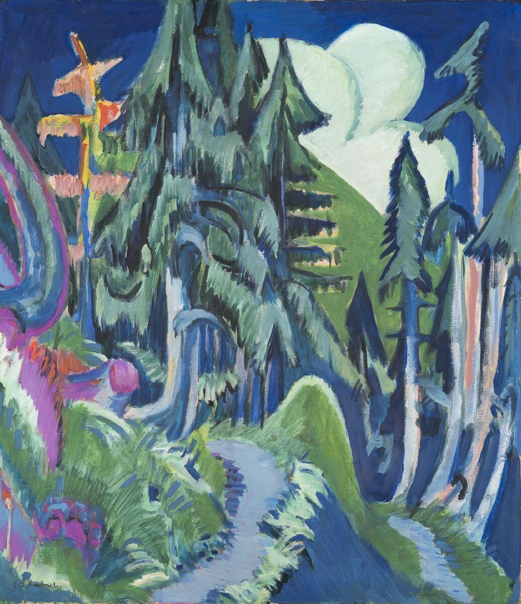 Ernst Ludwig Kirchner, Mountain Forest, 1918–20. Photo © Kirchner Museum Davos, Stephan Bösch. Courtesy of Kirchner Museum Davos.