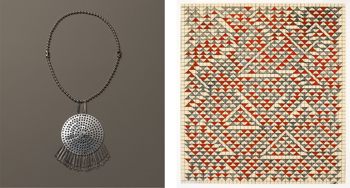 Left:Anni Albers, Necklace, ca. 1940. Right:Anni Albers, Study for Camino Real, 1967. The Josef and Anni Albers Foundation, Bethany, Conn. © 2017 The Josef and Anni Albers Foundation/Artists Rights Society (ARS), New York. Photos by Tim Nighswander.