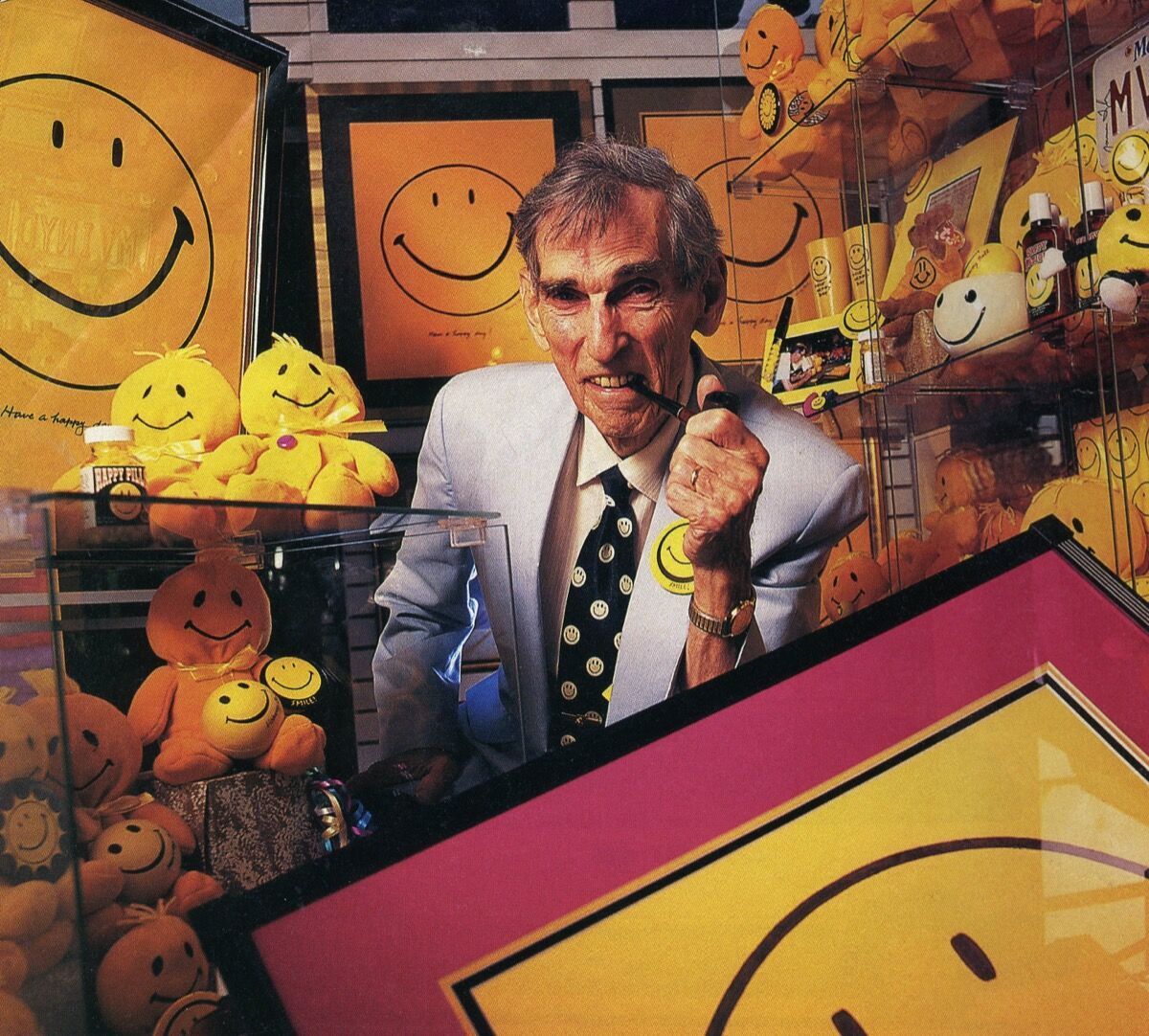 "Photo of Harvey Ball, the ""inventor"" of the smiley face, from People Magazine, 1998. Photo by Michael Carroll. Courtesy of People Magazine and the Worcester History Museum."