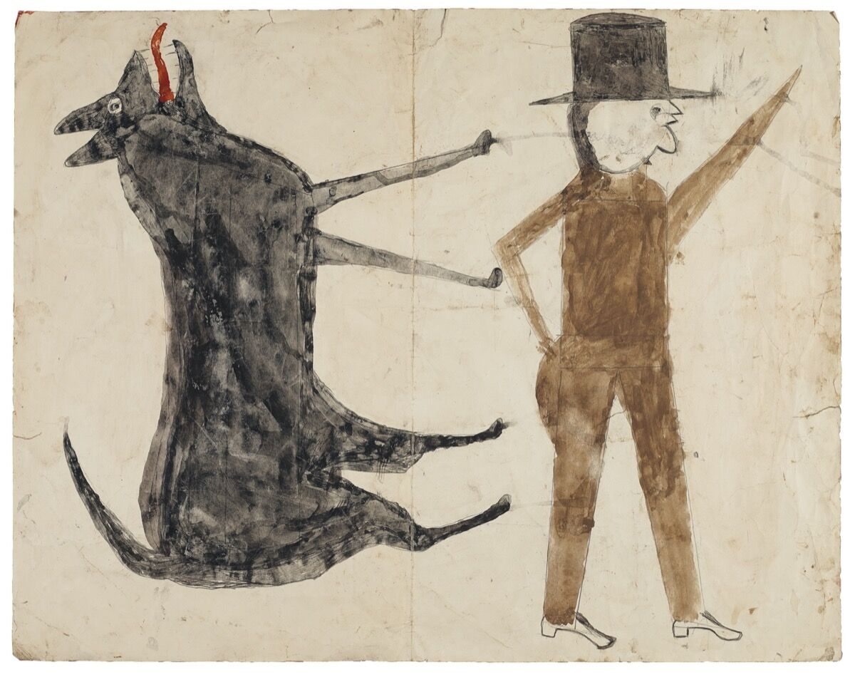 Bill Traylor, Man on White, Woman on Red / Man with Black Dog (verso), 1939–42. Courtesy of Christie's.