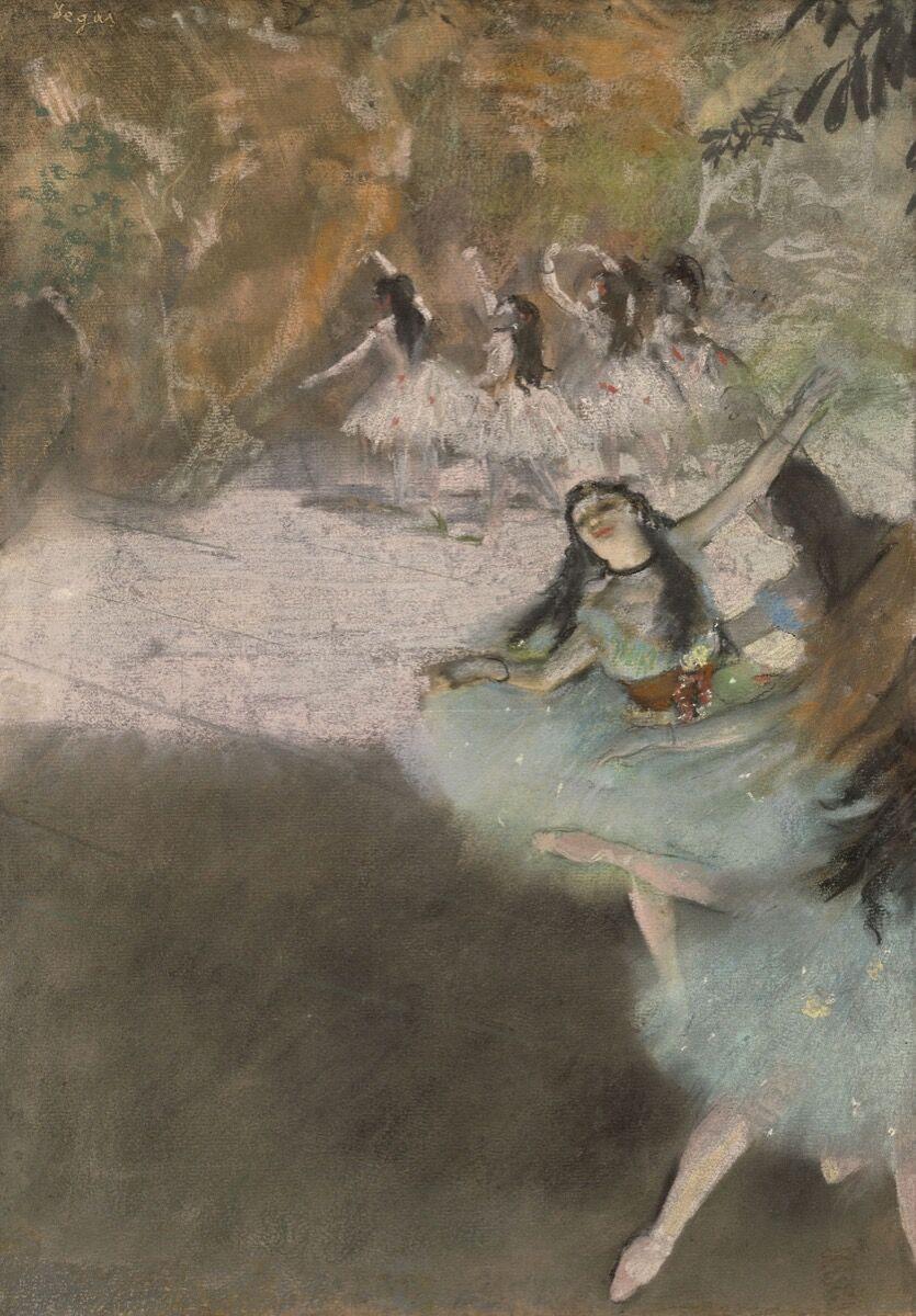 Edgar Degas, en el escenario, 1876-1877.  Cortesía del Instituto de Arte de Chicago.