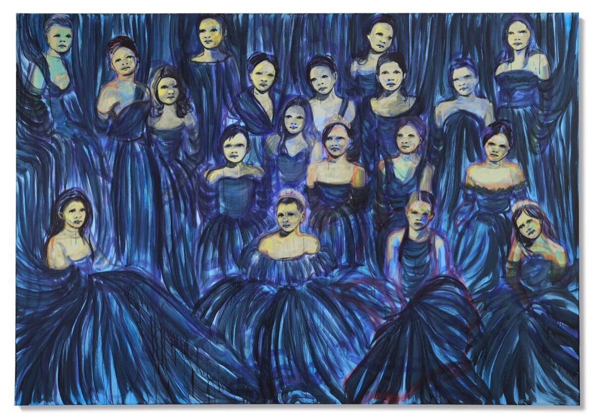 Claire Tabouret, Les débutantes (bleu azur), 2014. Courtesy of Christie's Images Ltd. 2021.