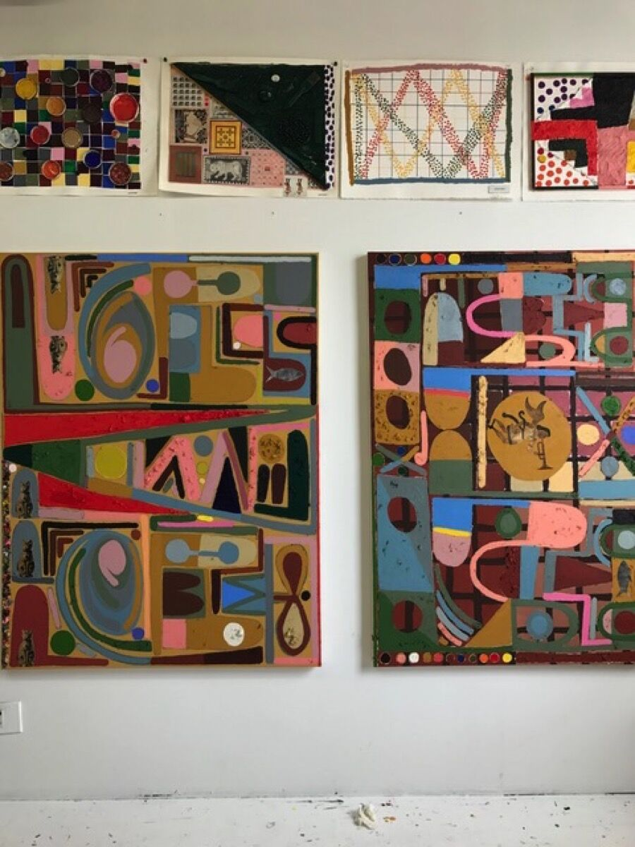 Works by Austin Eddy in his studio. Courtesy of Half Gallery.
