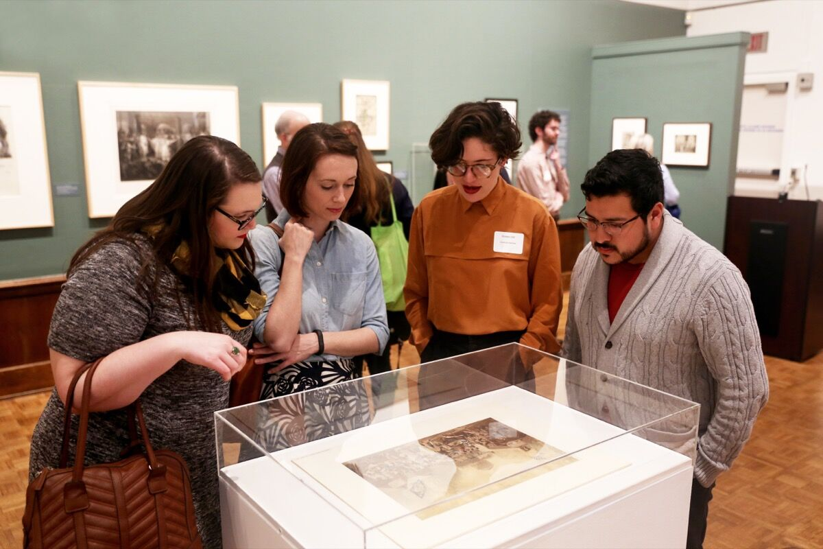 """Grad students at the opening reception for a student-curated exhibition, """"Expanding the Audience for Art in the Nineteenth Century,"""" held at the Arthur Ross Gallery, University of Pennsylvania. Courtesy of the University of Pennsylvania."""