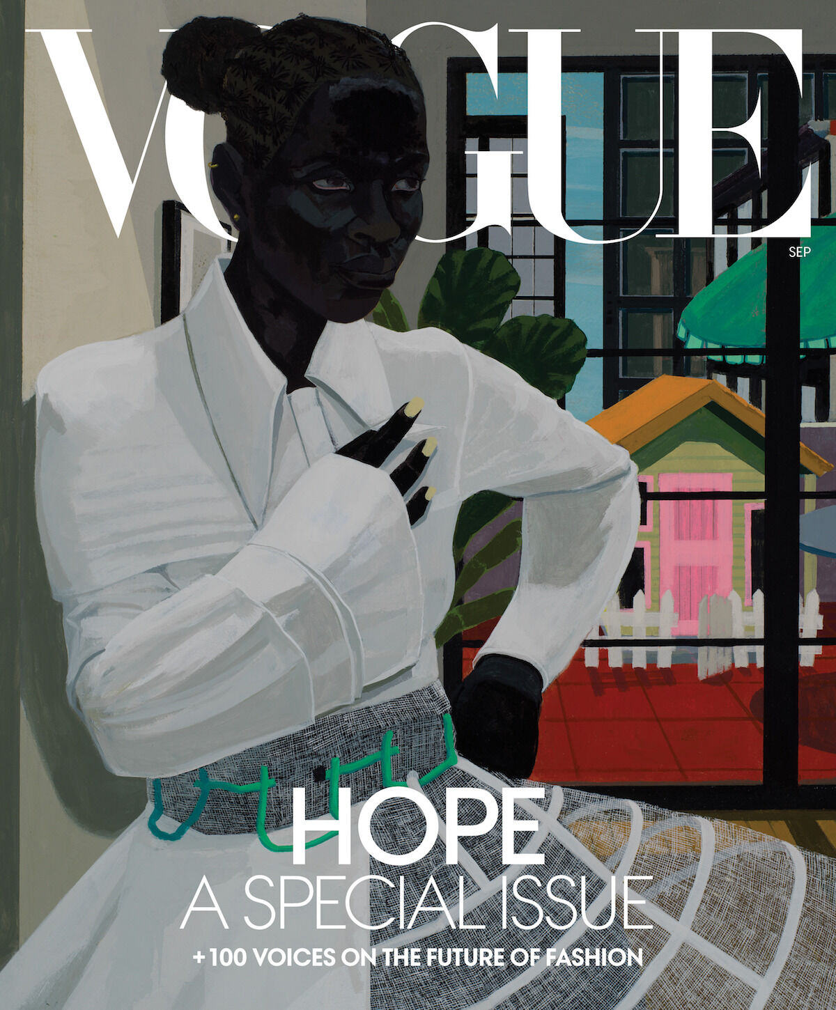 The cover of Vogue's September issue featuring a new Kerry James Marshall painting. Courtesy Vogue.