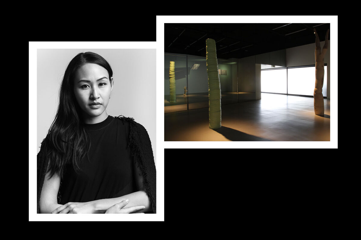 "From left: portrait of Sutima Sucharitakul; installation view of Jedsada Tangtrakulwong, ""The Uncertain,"" at Nova Contemporary, 2019. Courtesy of Nova Contemporary."