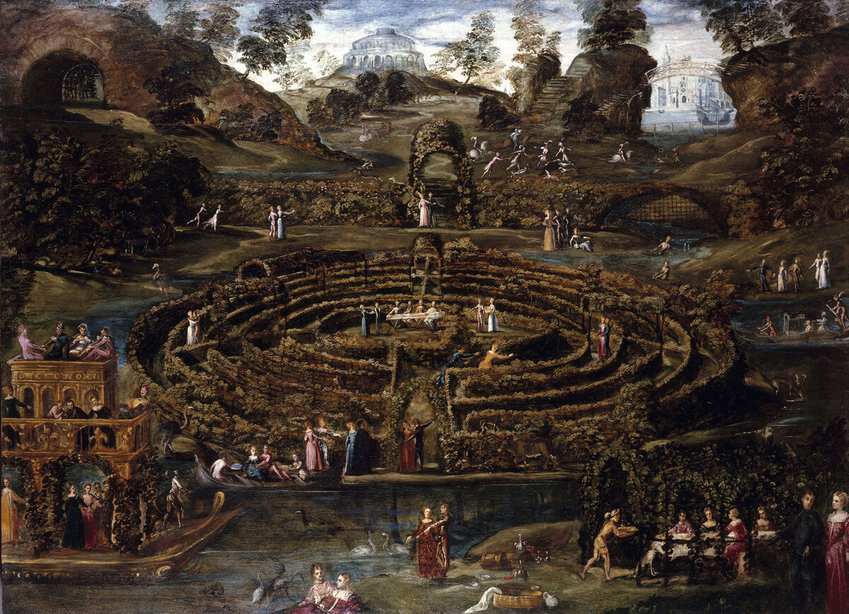 Lodewijk Toeput, Pleasure Garden with a Maze, c. 1579-1584. Courtesy of the Royal Collection Trust.