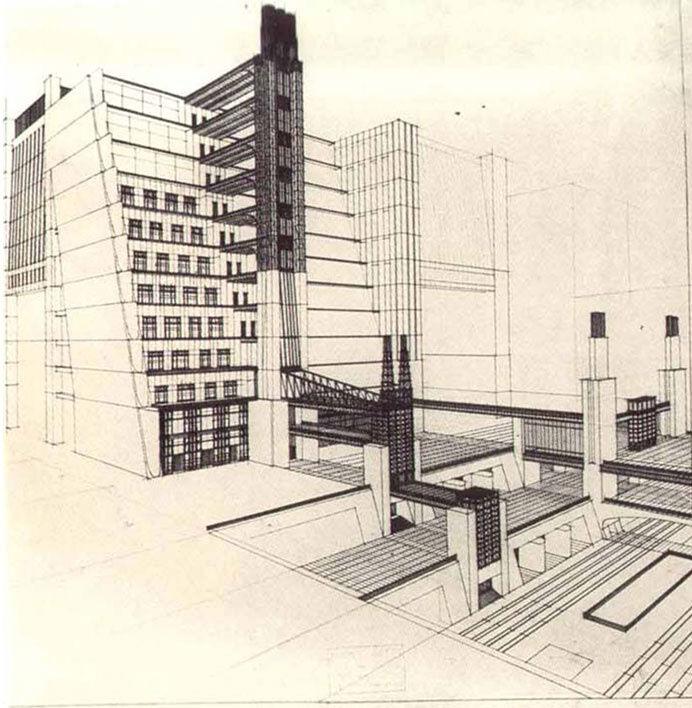 Antonio Sant'Elia, Casa a gradinata con ascensori dai quattro piani stradali, 1914. Image via Wikimedia Commons.