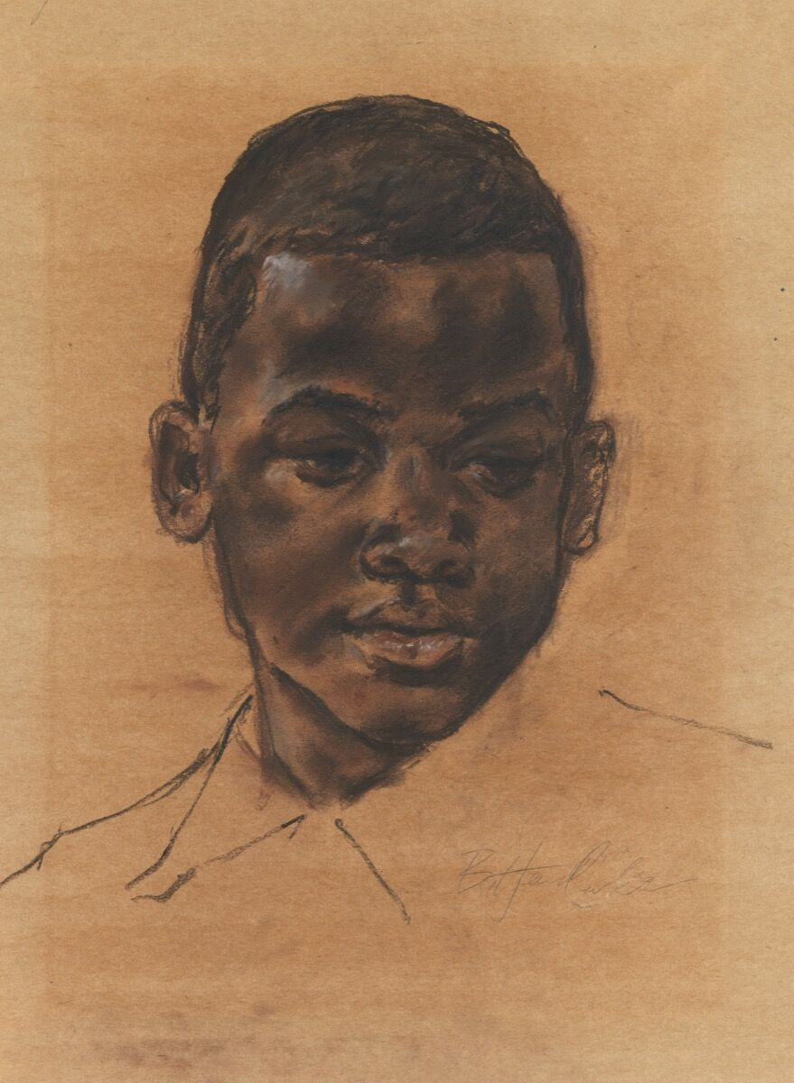 Barkley L. Hendricks, [Head of boy], 1967. PAFA, Gift of Dr. Constance E. Clayton in loving memory of her mother Mrs. Williabell Clayton. Courtesy of Pennsylvania Academy of the Fine Arts, Philadelphia.