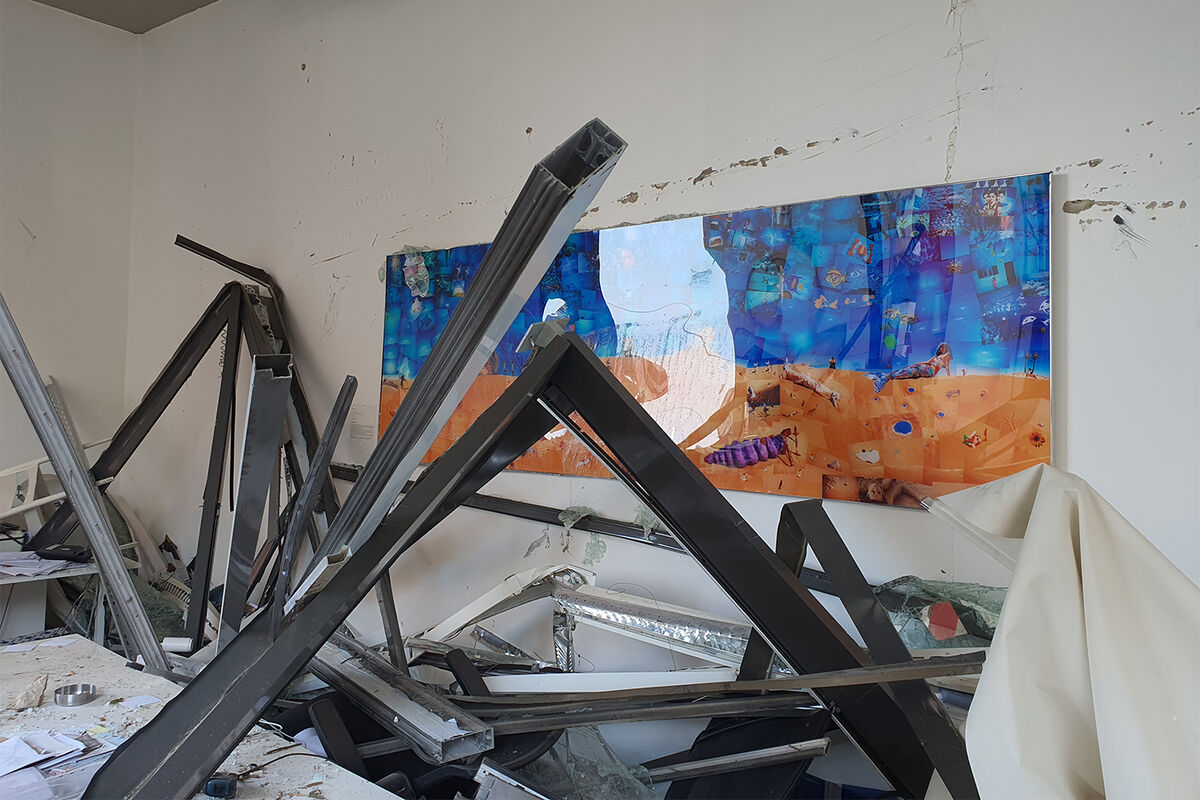 Interior view of Galerie Tanit after the explosions, 2020. Courtesy of Galerie Tanit.