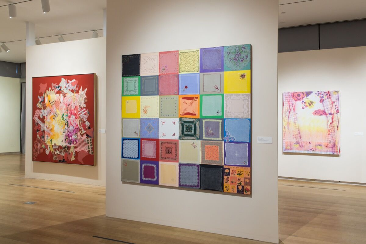 """Installation view of """"Surface/Depth: The Decorative after Miriam Schapiro."""" Photo by Jenna Bascom. Courtesy of The Museum of Arts and Design."""
