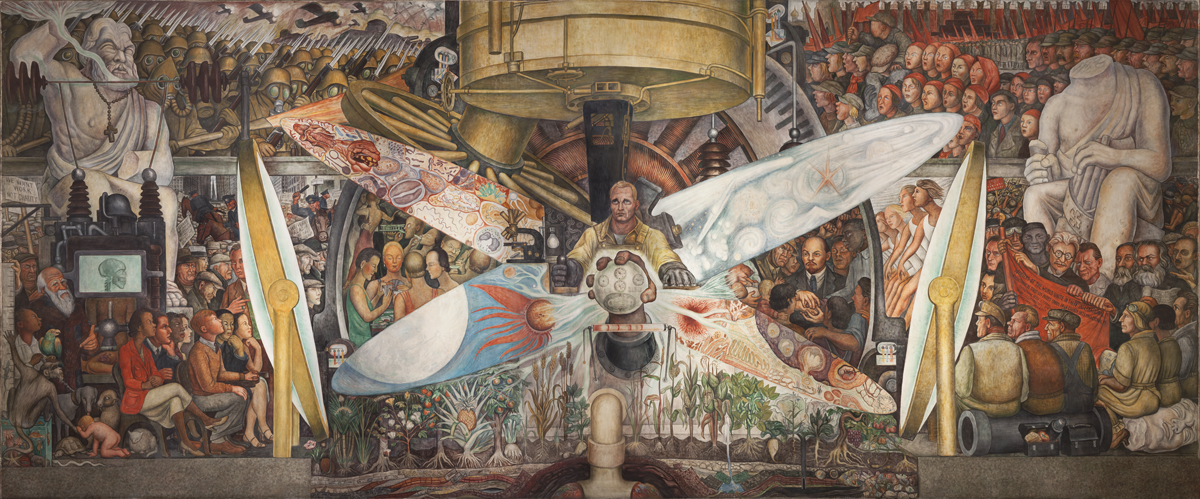 Diego Rivera, Man, Controller of the Universe, 1934. © 2020 Banco de México Diego Rivera Frida Kahlo Museums Trust, Mexico, D.F. / Artists Rights Society (ARS), New York. Reproduction authorized by El Instituto Nacional de Bellas Artes y Literatura, 2020. Courtesy of the Whitney Museum of American Art.