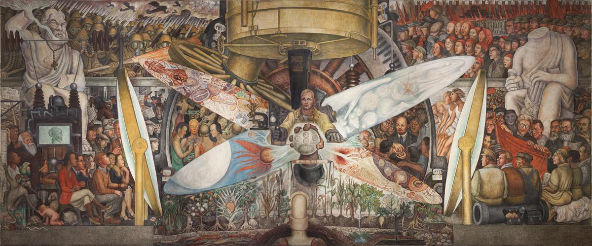 Diego Rivera, Hombre, Controlador del Universo, 1934. © 2020 Banco de México Diego Rivera Frida Kahlo Museums Trust, México, DF / Artists Rights Society (ARS), Nueva York.  Reproducción autorizada por el Instituto Nacional de Bellas Artes y Literatura, 2020. Cortesía del Museo Whitney de Arte Americano.