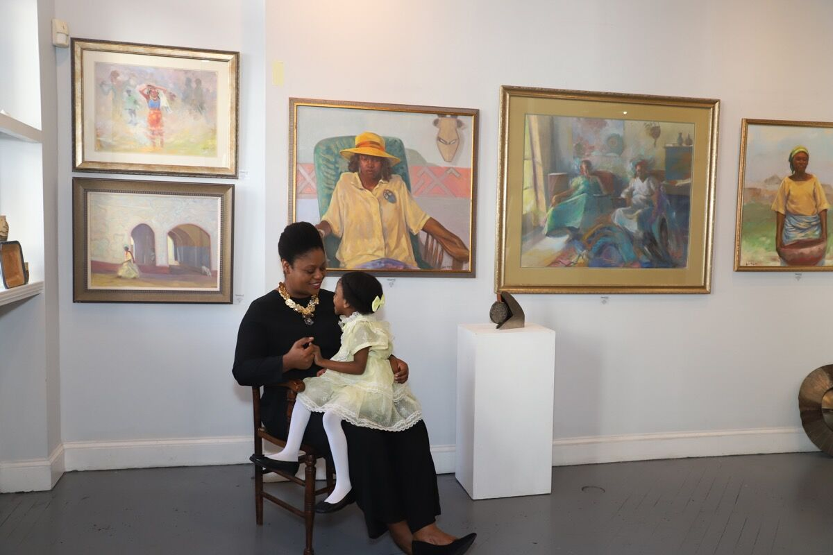 Portrait of Meisha Johnson and her daughter Sabina at Neema Gallery, 2020. Photo by Lea Austen. Courtesy of Neema Gallery.