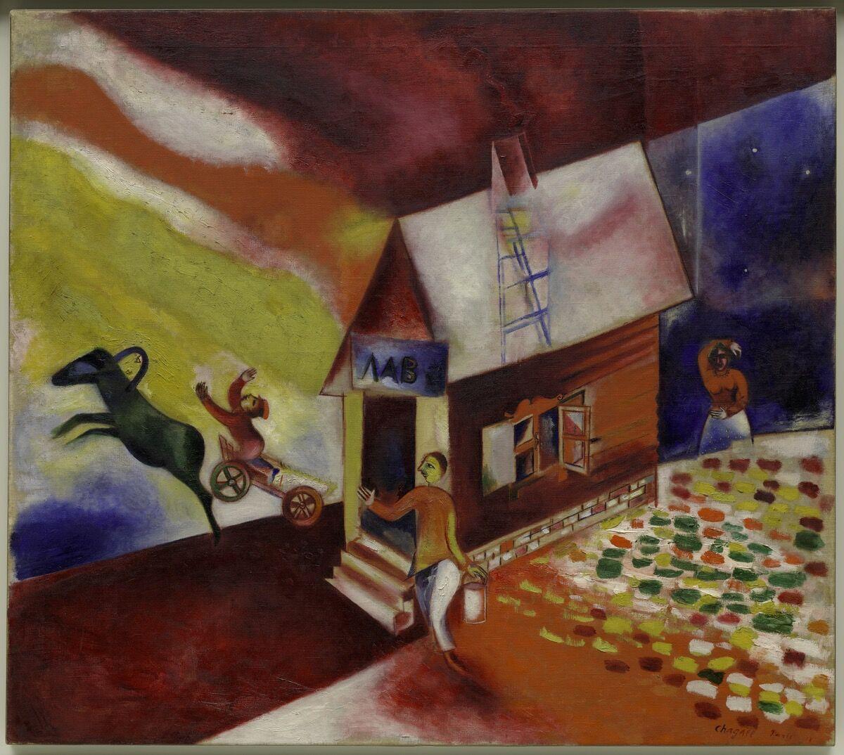 Marc Chagall, The Flying Carriage (La calèche volante), 1913.© Marc Chagall, Vegap, Bilbao 2018. Courtesy of the Guggenheim Bilbao.