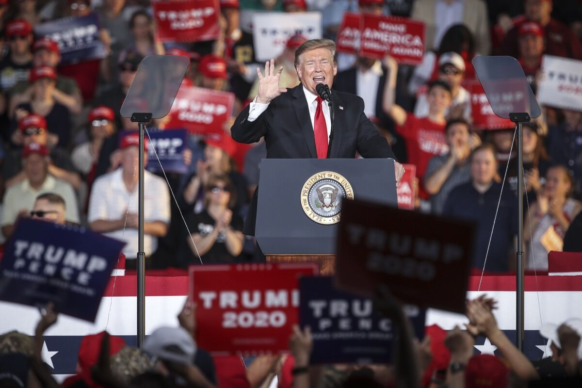 U.S. President Donald Trump speaks during a 'Make America Great Again' campaign rally at Williamsport Regional Airport, May 20, 2019 in Montoursville, Pennsylvania.