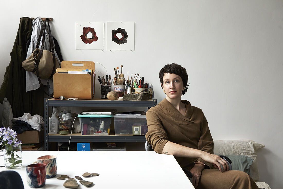 Portrait of Brie Ruais in her studio by Alex John Beck for Artsy.
