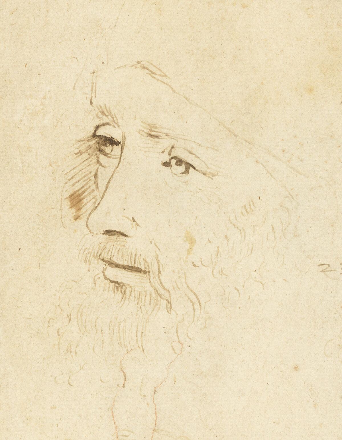 A sketch of Leonardo da Vinci, ca. 1517–18, by an assistant of Leonardo. Royal Collection Trust / © Her Majesty Queen Elizabeth II 2019.
