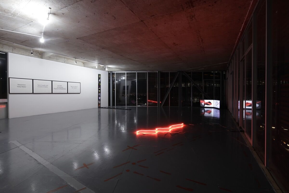 Installation view of Julio César Morales, This World is Not For You, 2018, a solo offsite exhibition at Torre Cube, Guadalajara, Mexico. Courtesy of Gallery Wendi Norris.