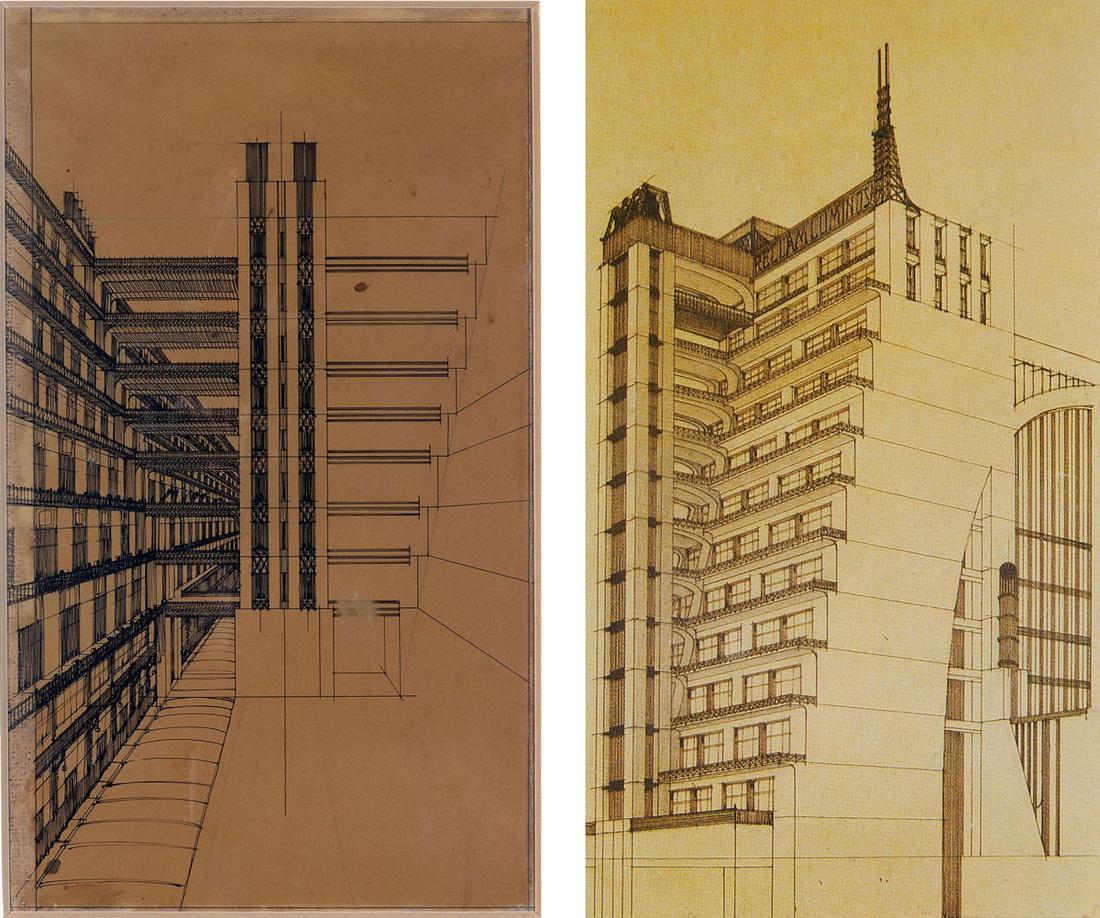 Left: Antonio Sant'Elia,Via secondaria per pedoni con ascensori nel mezzo, 1914; Right: Antonio Sant'Elia,Bozzetto d'architettura, 1914. Images via Wikimedia Commons.