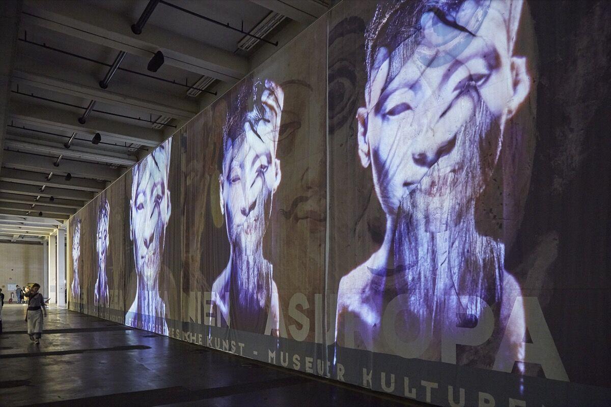 Theo Eshetu, Atlas Fractured, 2017, on view at documenta 14, 2017. Photo by Benjamin Westoby for Artsy.