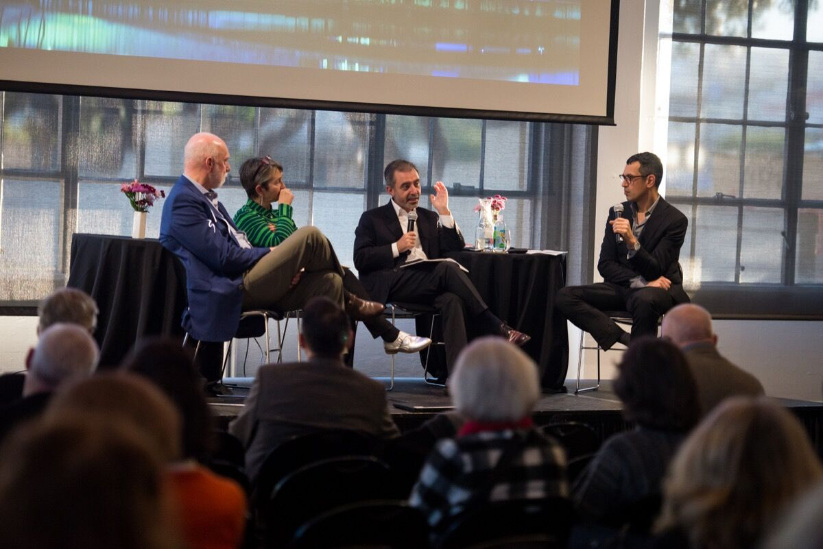 Richard Armstrong, Frances Morris, Manuel Borja-Villel, and Dominic Willsdon at Yours, Mine, and Ours. Photo by Beth LaBerge, courtesy of SFMOMA.