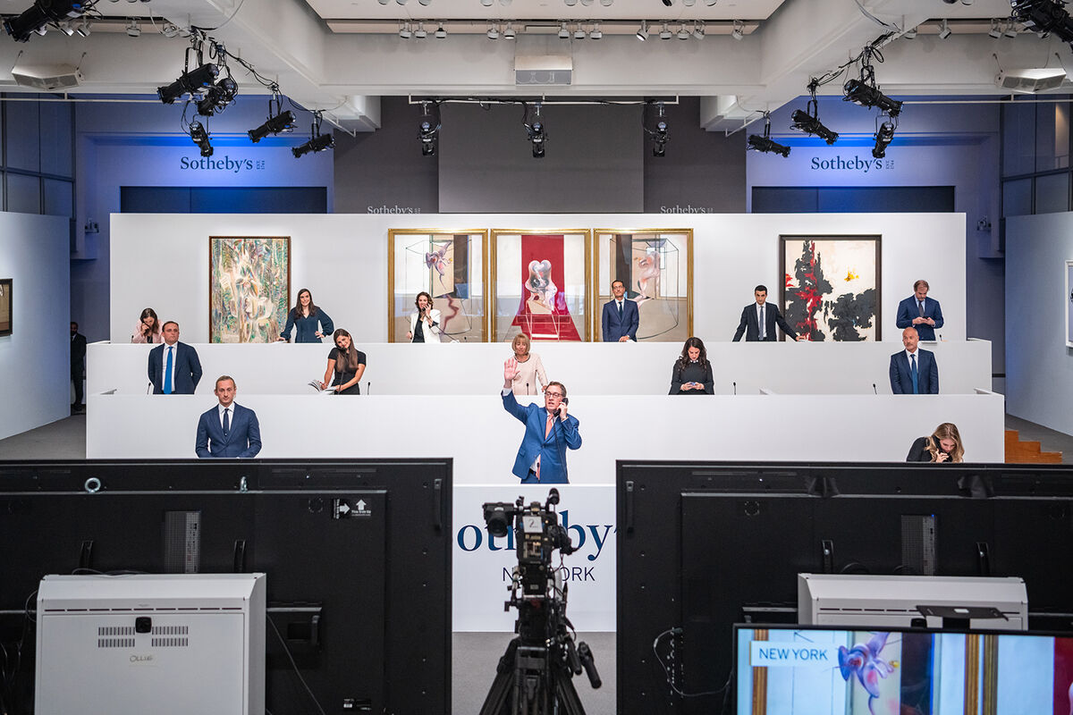 View of the salesroom during Sotheby's 20th Century & Contemporary Art Evening Sale New York Auction on June 30,2020. Courtesy of Sotheby's.