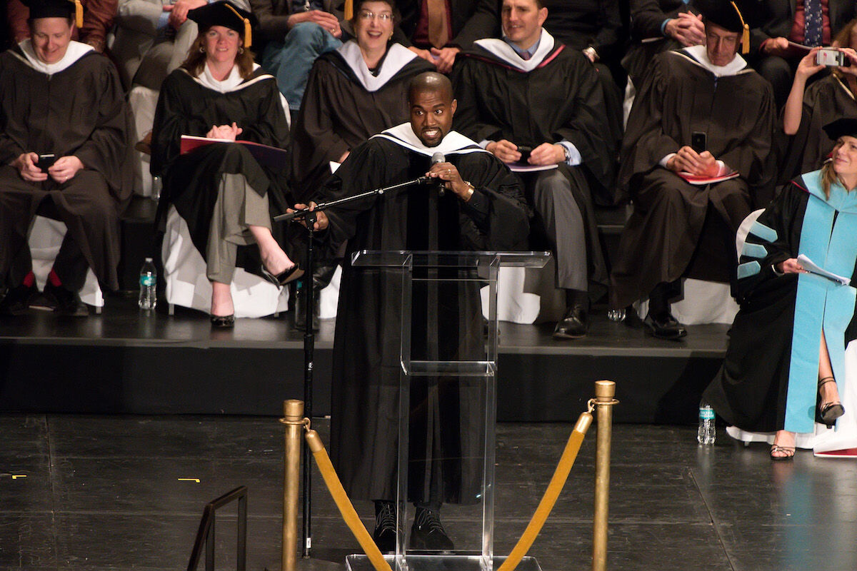 Kanye West receives an honorary doctorate at the School of the Art Institute of Chicago on May 11, 2015. Photo by Daniel Boczarski/WireImage.