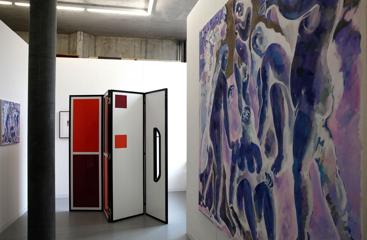 Works byThan Hussein Clark and Megan Francis Sullivan at Mathew Gallery, LISTE 2015.Photo by Alec Bastian for Artsy.