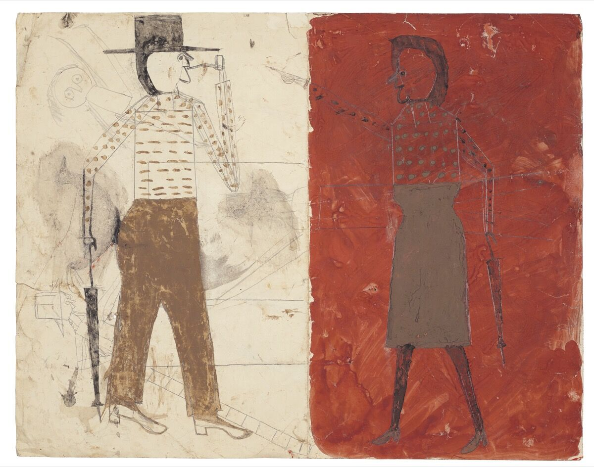 Bill Traylor, Man on White, Woman on Red / Man with Black Dog (recto), 1939–42. Courtesy of Christie's.