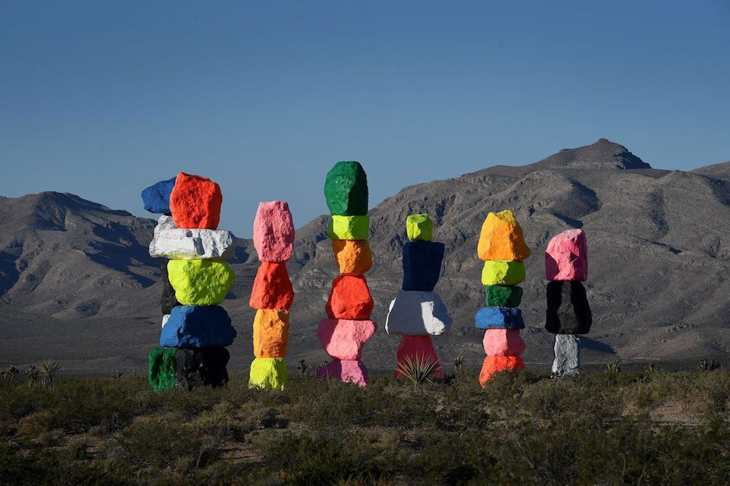 Ugo Rondinone,  Seven Magic Mountains , 2017. Photo by Mark Ralston/AFP/Getty Images.