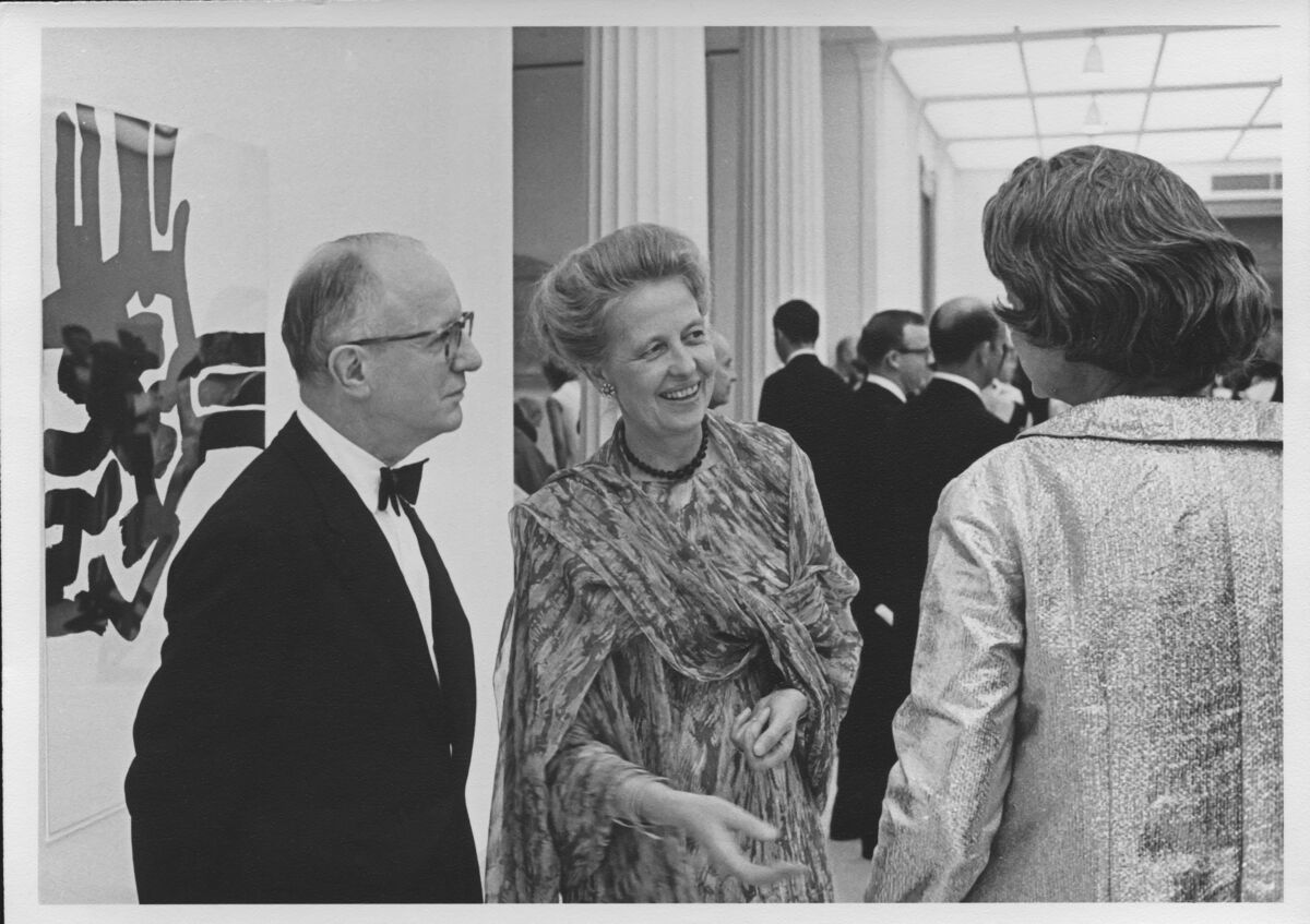 Dominique and John de Menil, November 6, 1968, at the opening of A Young Teaching Collection (November 7, 1968-January 12, 1969), the Museum of Fine Arts, Houston. Photo by Hickey-Robertson Courtesy of Menil Archives, The Menil Collection, Houston.