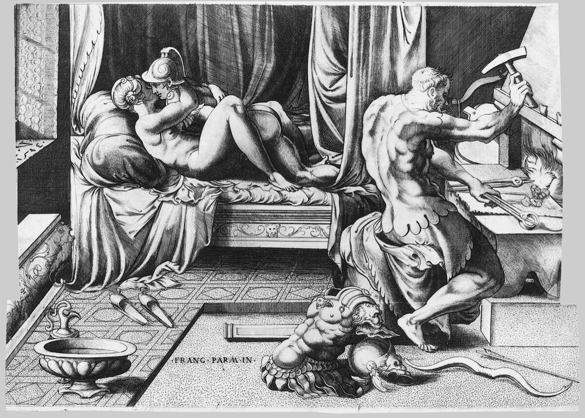 Enea Vico, Venus and Mars Embracing as Vulcan Works at His Forge, 1543. Courtesy of the Metropolitan Museum of Art.