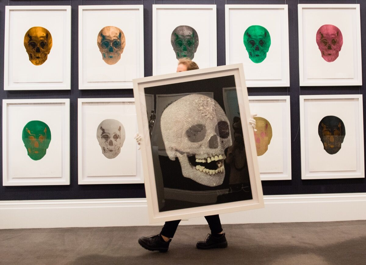 Installation view of the collection of Lorna and Frank Dunphy, former business manager to Damien Hirst,  prior to going on auction on September 14, 2018. Photo by Samir Hussein/Getty Images for Sotheby's.