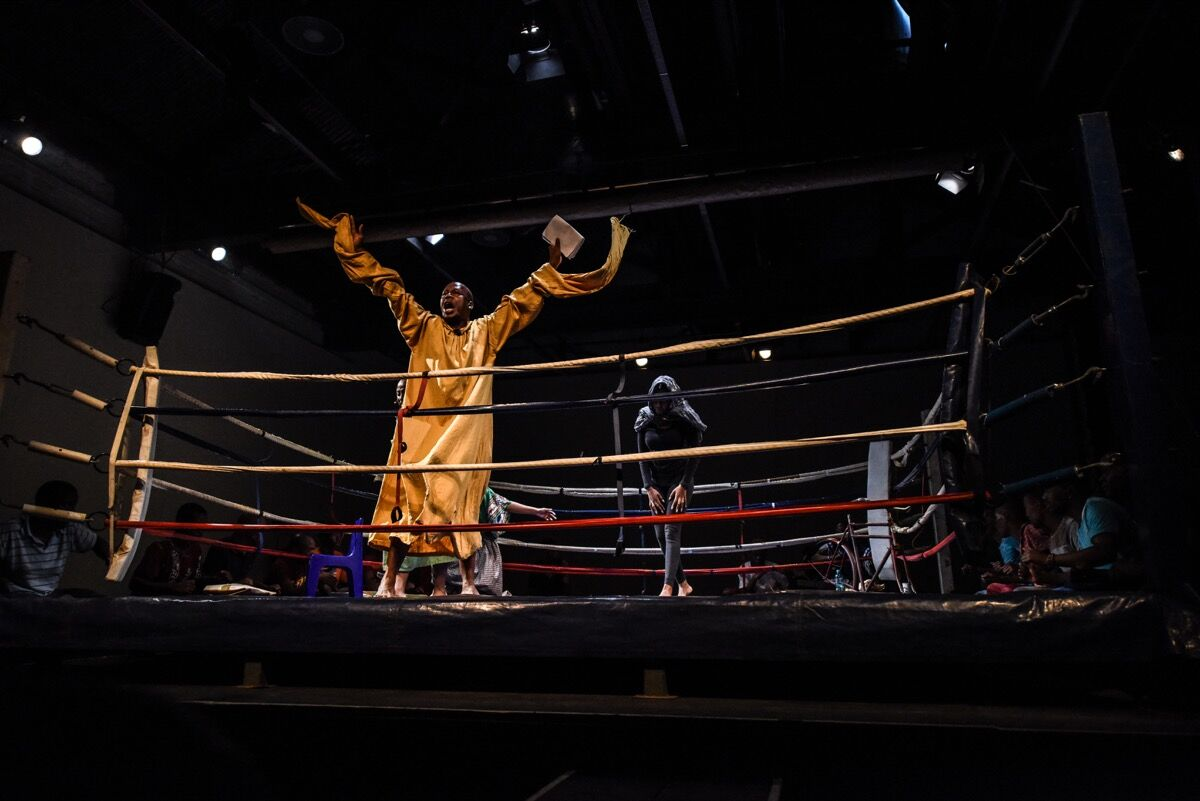 Performance of In the Ring in collaboration with The Hillbrow Boxing Club. Photo by Stella Olivier.