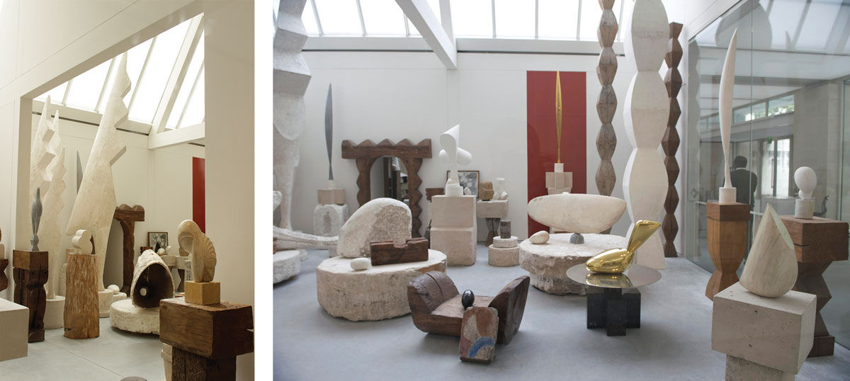 Brancusi's studio housed at the Centre Georges Pompidou. Left: Photo by George Moga, via Flickr. Right: Photo by Thor, via Flickr.