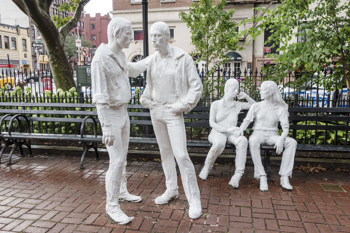 Sculptures by George Segal at Stonewall National Monument in Christopher Park, New York. Photo by Jeffrey Greenberg/UIG via Getty Images.
