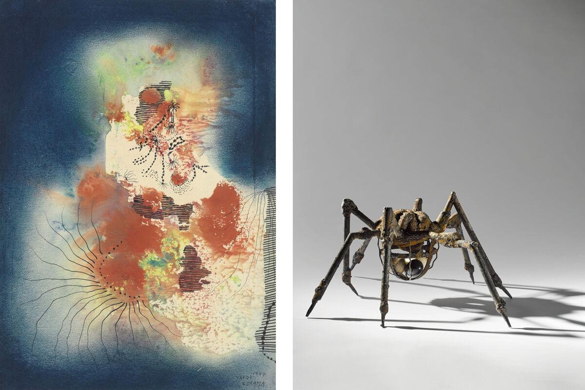 Left: Yayoi Kusama, The Castle, 1954; Right:Louise Bourgeois, Spider, 1994. Images courtesy of Sotheby's.