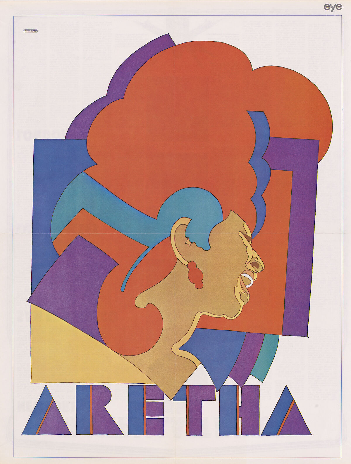 Aretha Franklin by Milton Glaser, color photolithographic poster, 1968. Courtesy the National Portrait Gallery, Smithsonian Institution; © Milton Glaser