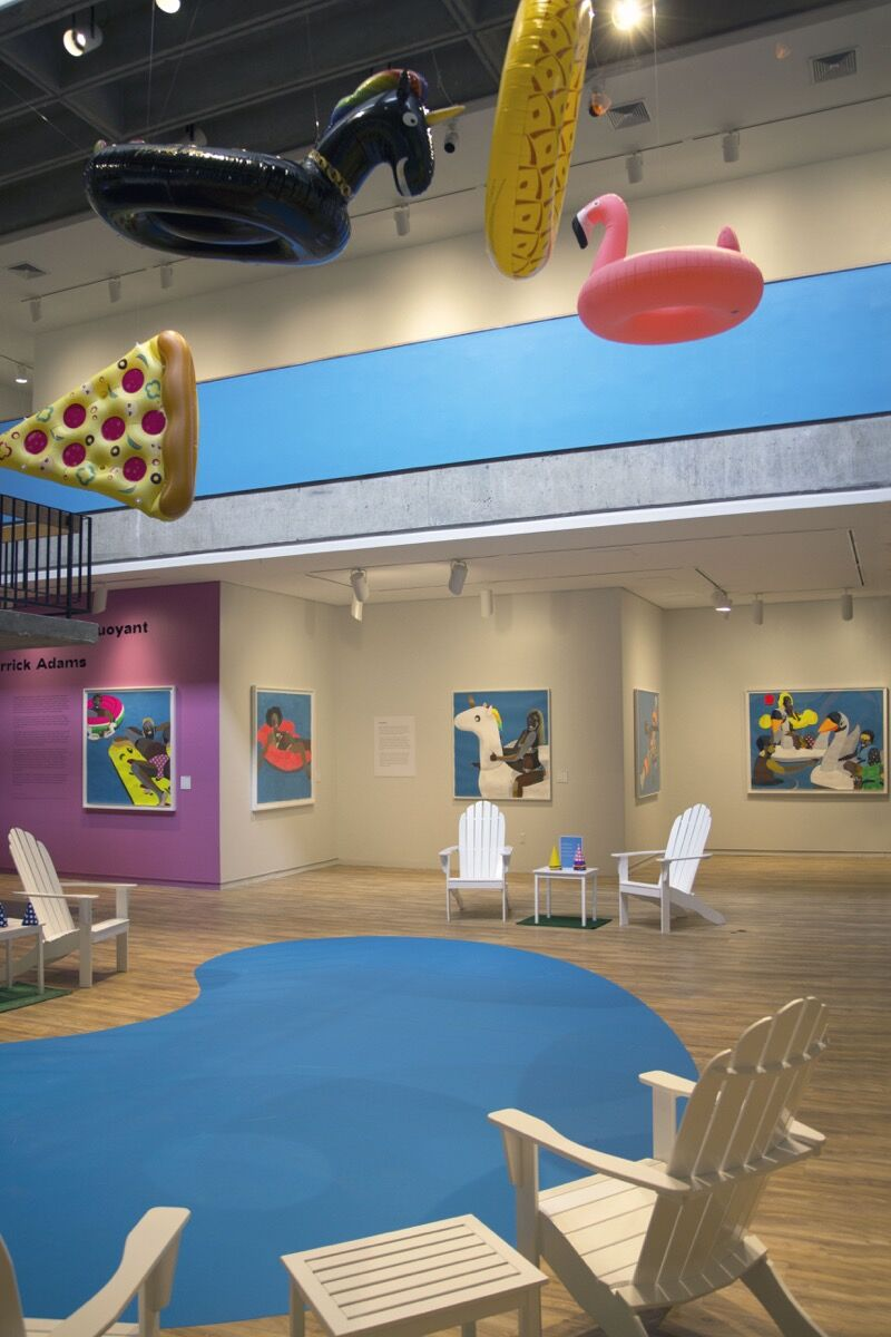 """Derrick Adams, installation view of """"Derrick Adams: Buoyant"""" at the Hudson River Museum, Yonkers, New York, 2020. Courtesy of the artist, Salon 94, and the Hudson River Museum."""
